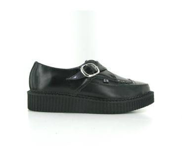 tuk pointed creeper black leather monk buckle